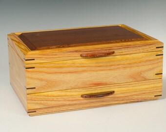 Canarywood Jewelry Box with Walnut Accents