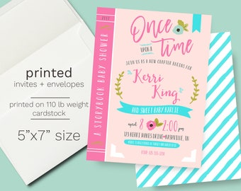 Story Book Baby Shower Invitation - PRINTED INVITATIONS Book Themed Shower Pink Aqua Floral Baby Sprinkle Invite Modern Baby Shower