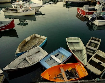 Row Boat Photography - Nautical Wall Art - Coastal Decor - Massachusetts - New England - Fishing - Boating - Ocean Photography - Sea Art
