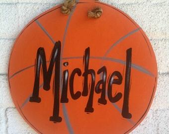 Basketball, Sign, Plaque, Basketball Sign, Door Sign, Bedroom Door, Wall Art, Basketball Art, Personalized Name Plaque, Play Ball