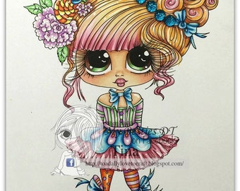 INSTANT DOWNLOAD  Digital Digi Stamps Big Eye Big Head Dolls img120 Bestie By Sherri Baldy