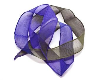 1pc - dyed silk ribbon necklace to 85 x 2.5 cm green blue Indigo black (ref SOIE131) 4558550003119