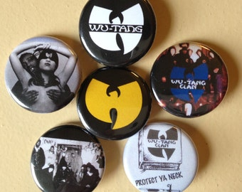 "Wu-Tang Clan pin back buttons 1.25"" set of 6"