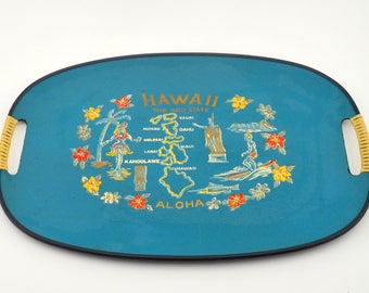 Vintage Hawaii Souvenir Tray, Hawaiian Islands Collectible Tray for Serving or Decor, 50th State, Blue, circa 1950s-1960s