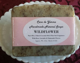 Wildflower Scrub Hand Soap Beauty and Bath Bar. Olive, Palm and Coconut Oils and Skin Safe Fragrances. (Use Coupon Code CDY18)