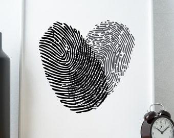 PRINTABLE Art Finger Heart Print Typography Art/Design Print, Typography Poster