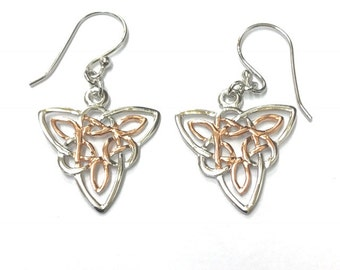 Sterling Silver Celtic Earrings With Gold Bonded Centres/Solid Silver/Handmade