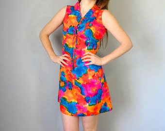 Vintage ALEI Dress • 1960s Clothing • Bright Hawaiian Tie Dye Pink Blue Ruffle 60s Portrait Collar Neckline Empire Waist • Women Extra Small