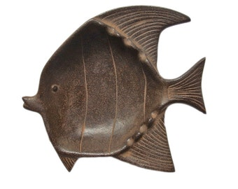 Beautiful Fish Sculpture Dish. Mid Century Modern. Vintage Japanese. Angel Fish. Metal Sculpture. Plate. Bowl. Wabi Sabi. Rustic.