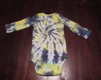 Steelers Tie Dye, Baby Tie Dye, Black and Yellow Tie Dye, Black and Gold Tie Dye, Spiral Tie Dye, Tie Dye Onesie, Tie Dye Bodysuit