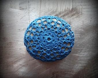 Lace Stone, Crocheted Stone, Small, Blue, Gray, Table Decorations, Original, Handmade, Home Decor, Monicaj
