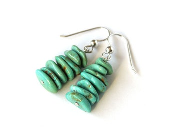 Light Turquoise Earrings Kingman Turquoise Chips Argentium Earwire Genuine Turquoise Jewelry Sterling Silver Southwest Western Rustic #18644