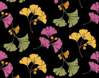 Gingko Leaves Pink, Green, Yellow - So Chic by Waverly from Quilting Treasures - Gingko-a-Go-Go on Black