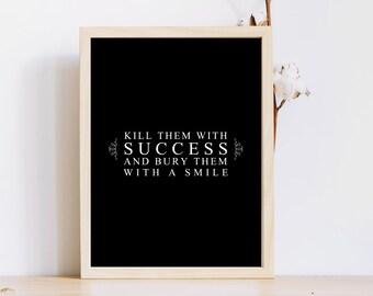 Mur de succès impression / affiche de citation 8 x motivation impression / travail mur 10 / motivation / Téléchargement instantané/Bureau impression/fitness citation travail dur