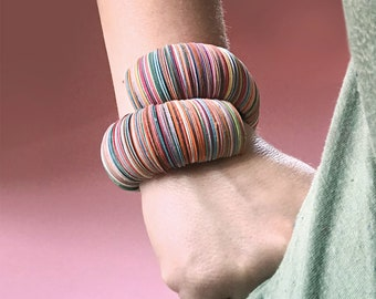 Paper jewelry, multicolor paper bracelet, statement women bangle, design jewelry, circle bracelet, gift for her, contemporary jewelry