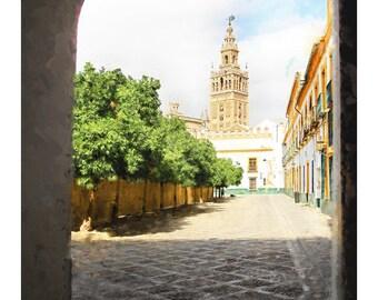 Seville, Spain, Europe, Spanish architecture, painterly image, fine art photography, travel photography, Spain home decor, art print, 16x24