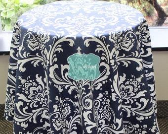 Tablecloth - Premier Prints - OZBORNE Damask  - Blue - Choose Your Size - Table Linen Wedding Home Decor Dining Kitchen