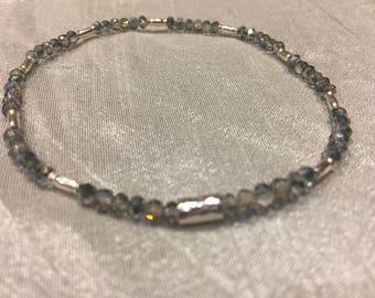 Sparkle anklet fine silver and swarovski crystals
