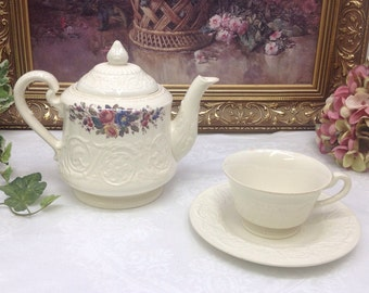 Wedgwood Swansea full size teapot with teacup and saucer.