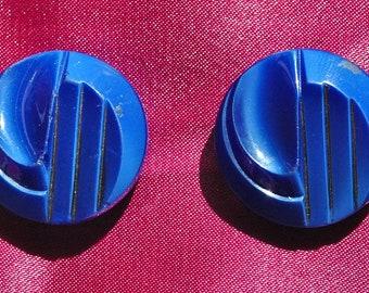 2 Blue Victorian Glass Buttons.