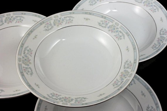 Soup Bowls, Fairfield Fine China, Versailles Pattern, Set of 4, Pastel Floral, Platinum Trim