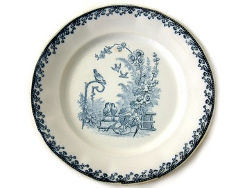 Set of 2 French antique blue transferware plates by PEXONNE. French transferware. Birds.