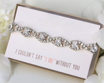 Silver Bridesmaid Gift Bridesmaid Proposal Bridesmaid Bracelet Silver Bridal Party Gift Crystal Bridesmaid Bracelet Wedding Bracelet B129-S2