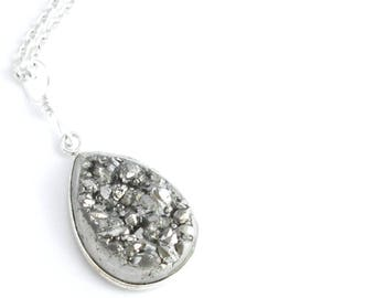 Silver Titanium Necklace, Quartz Sparkly Jewelry, Crystal Druzy Pendant
