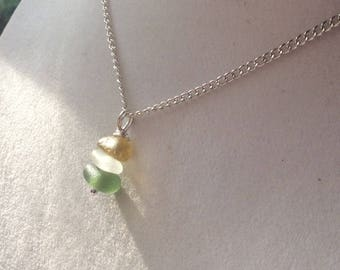 Yellow Seaham sea glass seaglass stacking pendant necklace mermaids tears uk ocean beach silver plated 925 sterling gift her English england