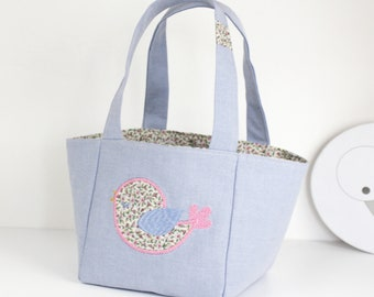 """LITTLE girl """"baby"""" basket style bag in sky blue cotton canvas"""