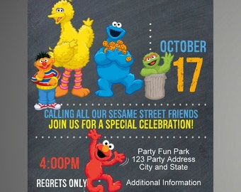 EDITABLE TEXT Sesame Street Birthday Invitation - Sesame Street Party Invites - Sesame Street Invite -Instant Download