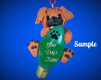 Red Pekingese Dog Christmas Holidays Light Bulb Ornament Sally's Bits of Clay OOAK PERSONALIZED FREE with dog's name