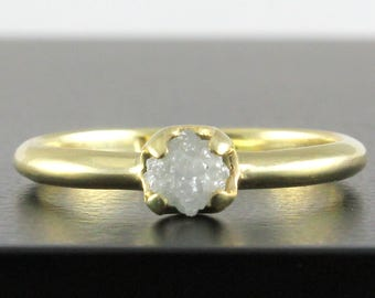 14K Yellow Gold Promise Ring with White Rough Diamond - Simple Design Ring - Natural Conflict Free Raw Diamond - Wedding Ring - Engagement