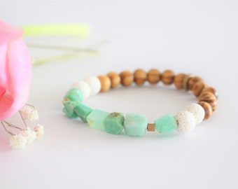 Chrysoprase + Olive Wood Essential Oil Diffuser Bracelet / Aromatherapy Bracelet / Oil Diffuser / Essential Oil Jewelry