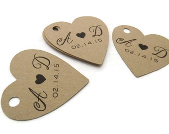 "Custom Wedding Favor Tags - Heart Tags - 60 Count - Thank You Tags - 1.5"" Heart - Personalized Tag -  Kraft Tags  - Custom Wedding Tags"
