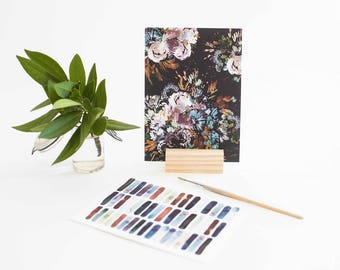 Prints with Wood Stand in Midnight (set of 2)