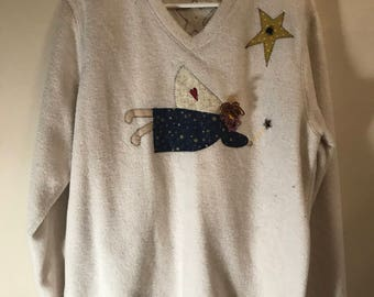 Catalina Women Vintage Ugly Tacky Christmas Sweater with Embroidered Ferry, Stars and Moons and lots of other Custom Embroidery  Womens L