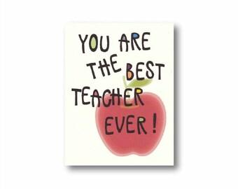 Best teacher card, Thank you teacher card, Teacher appreciation gift, Cards for teacher