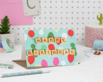 Happy Birthday Card, Happy Birthday Scrabble Card, Scrabble Inspired Greetings Card, Mint Birthday Card | Claireabellemakes