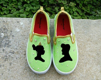 Princess and the Frog inspired Green and Gold Silhouette Hand-Painted Shoes