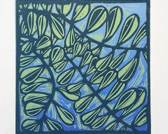Lino Print Linocut Leaves on Blue Original Handpulled Print