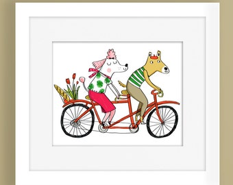 Dog Tandem-Home Decor-Cute Print-Animal Print-Bicycle-Dogs-Romance-Colourful Print-Fun Print-Illustration Print (8 X 10 in)