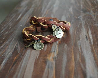 Just Hold On - Metal Stamped with Braided Leather  Band Bracelet