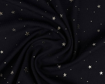 Midnight blue with stars embossed polyester crepe