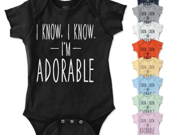 I'm Adorable New Parents Baby Shower Gifts Funny Saying Baby Romper Bodysuit