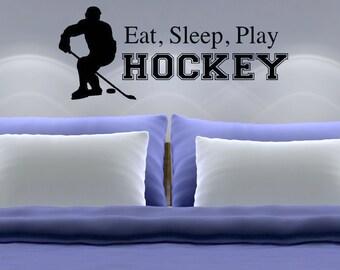 Eat Sleep Play Hockey Wall Decal Hockey Wall Decor Teen Boy Bedroom Decor Youth Bedroom Decor Sports Bedroom Decor