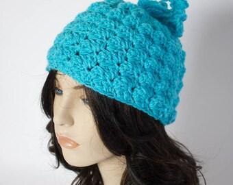 Crochet Bobble Beanie - Women's Ski Hat - Winter Accessory - Crochet Hat - Textured Beanie - Bobble Toboggan Hat - Multi Colors - Handmade