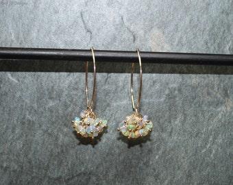 Genuine Fire Ethiopian Opal Earrings, Ethiopian Opal Jewelry, Welo Opal, Cluster Earrings, October Birthstone