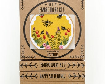 BEE LOVELY embroidery kit - gift kit, bee and honeycomb, flower garden, honey bees, DIY gift for crafters, hand embroidery kit by cozyblue