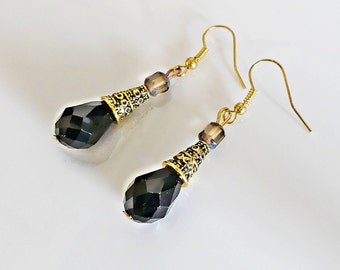 Crystal, earrings, hanging earrings, black, gold, antique style